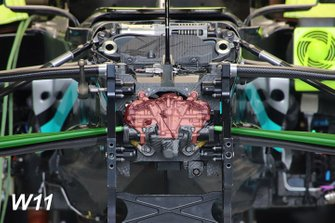 Mercedes AMG F1 W11 front suspension detail highlighted