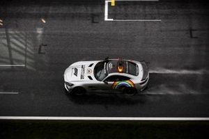 Safety Car driving round in heavy rain