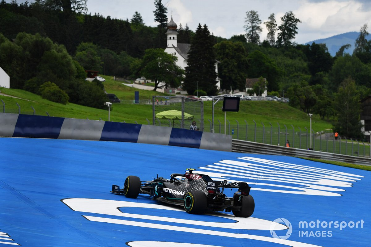 Valtteri Bottas, Mercedes F1 W11 EQ Performance, leaves the track