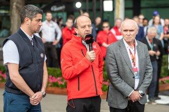Michael Masi, Director de la carrera de F1 de la FIA, Andrew Westacott CEO y Paul Little presidente de Australian Grand Prix Corporation