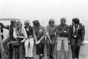 Max Mosley, Helmut Marko, Rolf Stommelen, Ronnie Peterson, Reine Wisell and Robin Herd