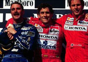 Ayrton Senna, McLaren, Gerhard Berger, McLaren, Nigel Mansell, Williams