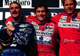 Podium: 1. Ayrton Senna, 2. und Weltmeister Nigel Mansell, 3. Gerhard Berger