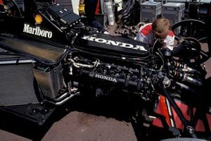 The Honda engine in one of the McLaren MP4-7A