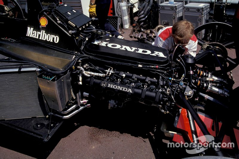 The Honda engine in one of the McLaren MP4-7As.