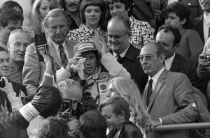 Race winner Jackie Stewart,Tyrrell on the podium
