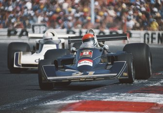 Michel Leclere, Wolf-Williams FW05 Ford, leads Alan Jones, Surtees TS19 Ford