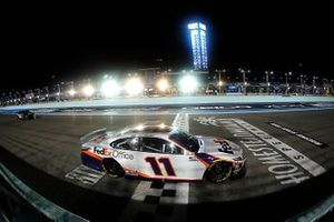 Denny Hamlin, Joe Gibbs Racing, Toyota Camry crosses the finish line