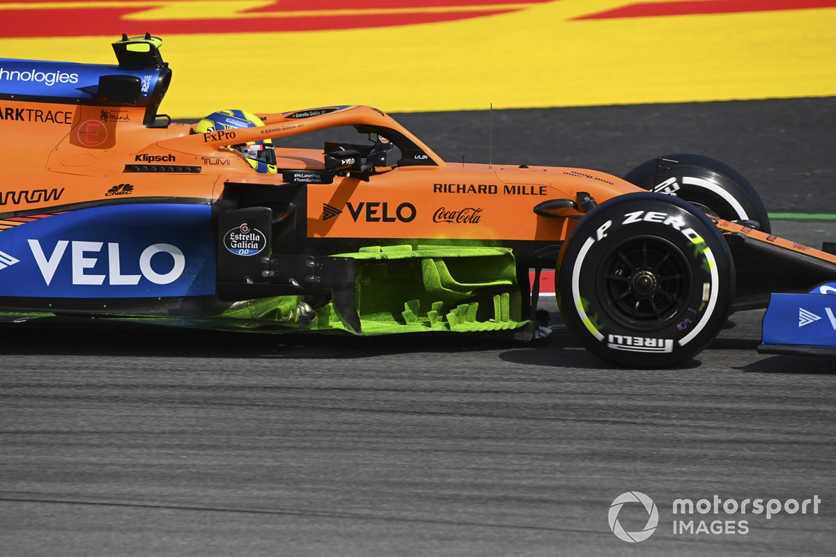 Lando Norris, McLaren MCL35 with aero paint