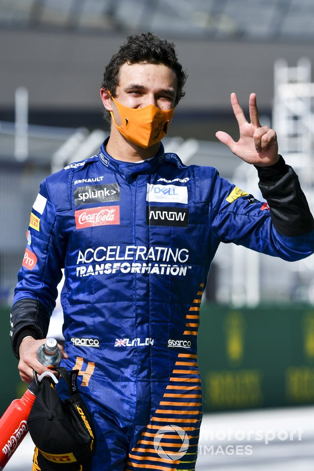 Lando Norris, McLaren celebra en parc ferme