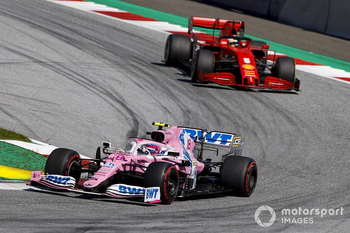 Lance Stroll, Racing Point RP20 precede Sebastian Vettel, Ferrari SF1000