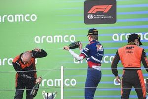 Robert Shwartzman, Prema Racing, 2nd position, sprays Champagne at the MP Motorsport trophy collector on the podium