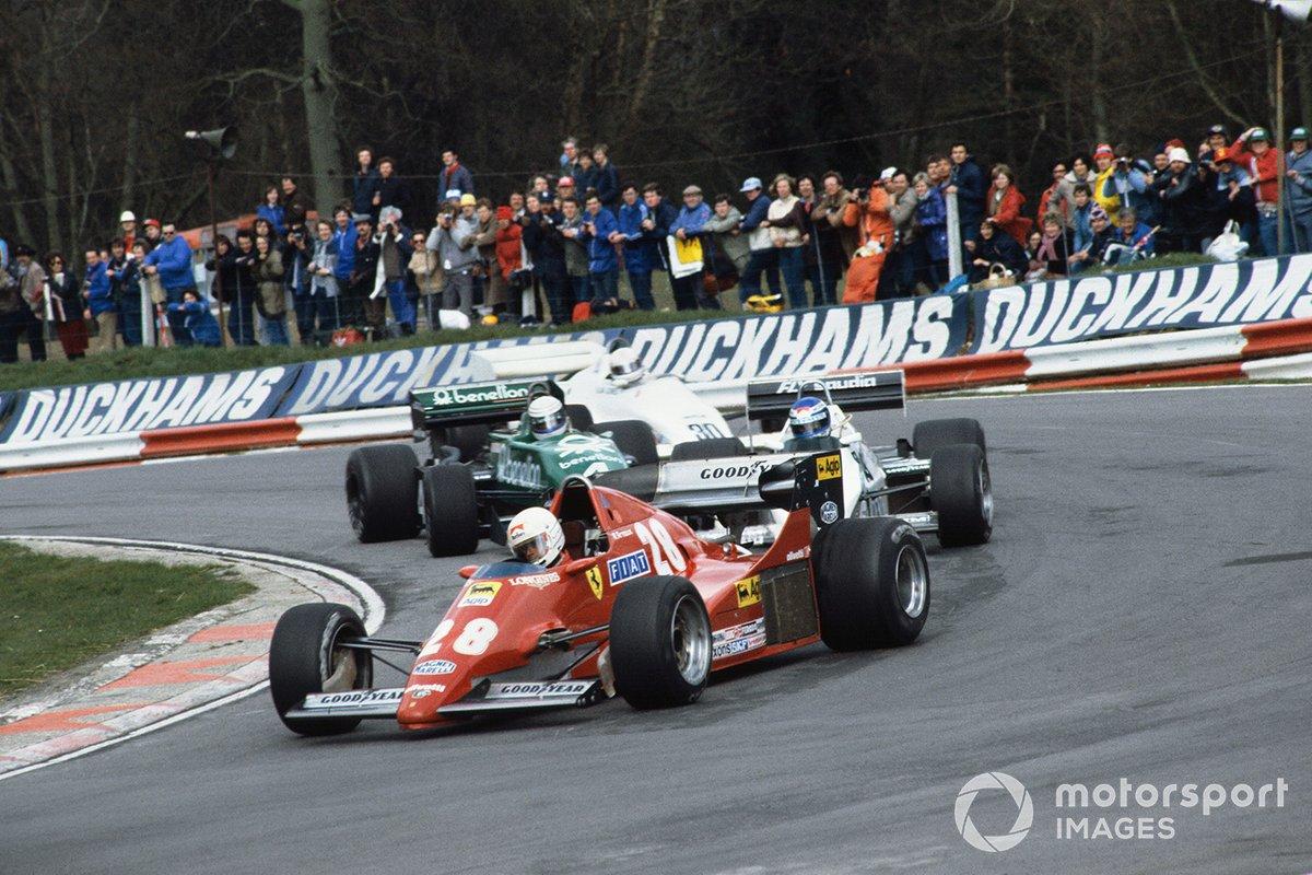 Rene Arnoux, Ferrari 126C2B, Keke Rosberg, Williams FW08C-Cosworth, Danny Sullivan, Tyrrell 011-Cosworth y Alan Jones, Arrows A6-Cosworth