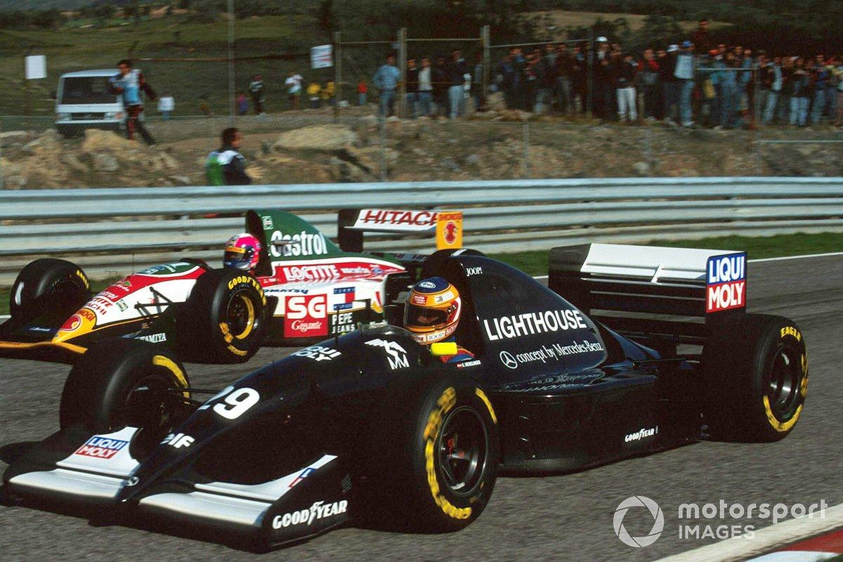 Karl Wendlinger, Sauber C12 overtakes Pedro Lamy, Lotus 107B