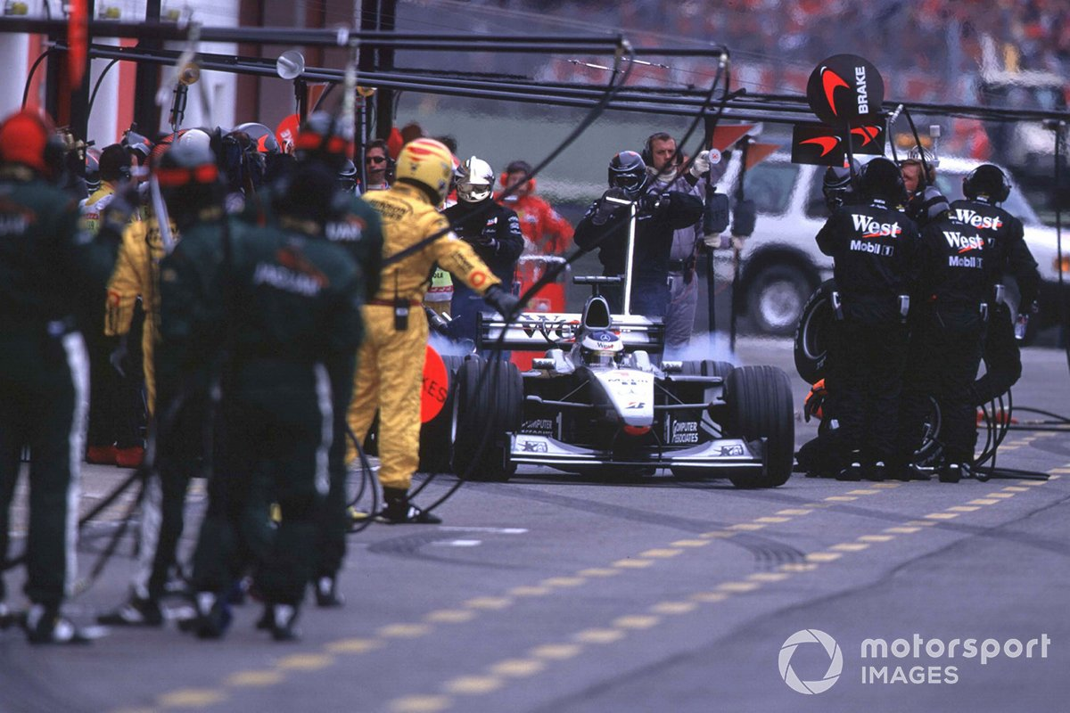 Mika Hakkinen, McLaren MP4/15, exits the pits