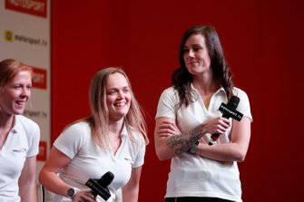 W Series drivers Alice Powell, Sarah Moore and Abbie Eaton on the Autosport stage