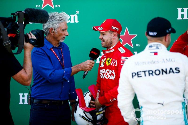Pole Sitter Sebastian Vettel, Ferrari talks to Damon Hill, Sky TV in Parc Ferme