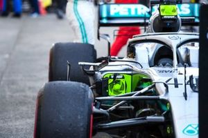 The car of Lewis Hamilton, Mercedes AMG F1 W10, with broken mirror, in Parc Ferme