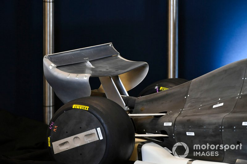 Detail of a model illustrating the 2021 Formula 1 technical regulations