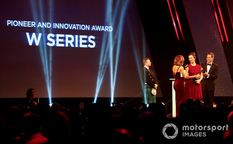 Catherine Bond Muir collects the Pioneering and Innovation award won by W Series