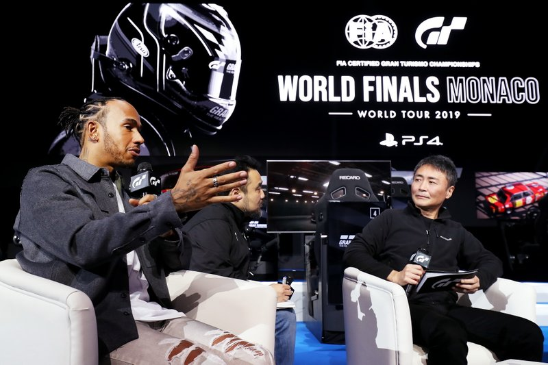 Formula 1 Driver, Lewis Hamilton speaks on stage