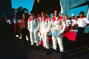 Teddy Yip, Theodore Racing owner, 10th placed Martin Brundle, Eddie Jordan Racing/Theodore, race winner Ayrton Senna, West Surrey Racing/Theodore and 2nd placed Roberto Guerrero, Eddie Jordan Racing/Theodore