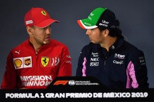 Sebastian Vettel, Ferrari and Sergio Perez, Racing Point in the Press Conference