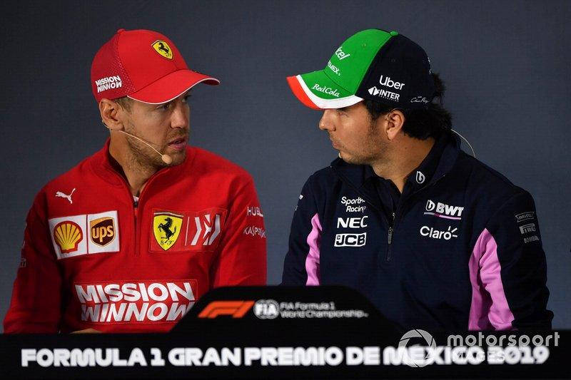 Sebastian Vettel, Ferrari et Sergio Perez, Racing Point, en conférence de presse