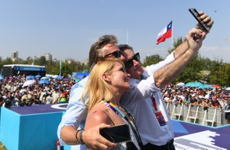 Alejandro Agag, Chairman of Formula E takes a selfie on the podium