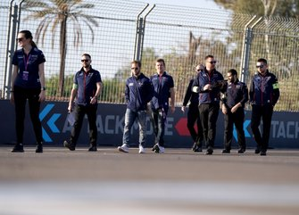 Sam Bird, Virgin Racing on his trackwalk with team members
