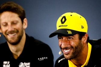 Romain Grosjean, Haas F1 and Daniel Ricciardo, Renault F1 Team In the Press Conference