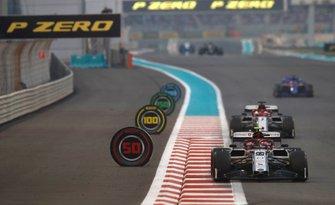Antonio Giovinazzi, Alfa Romeo Racing C38, precede Kimi Raikkonen, Alfa Romeo Racing C38, e Daniil Kvyat, Toro Rosso STR14