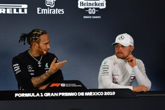 Lewis Hamilton, Mercedes AMG F1, 1st position, and Valtteri Bottas, Mercedes AMG F1, 3rd position, in the Press Conference