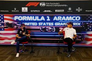 Max Verstappen, Red Bull Racing and Daniel Ricciardo, McLaren in the drivers press conference