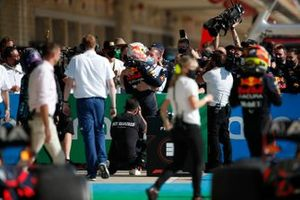 Max Verstappen, Red Bull Racing, 1st position, celebrates with his father Jos Verstappen in Parc Ferme