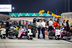 The cars of Sergio Perez, Racing Point RP20, 1st position, and Lance Stroll, Racing Point RP20, 3rd position, in Parc Ferme