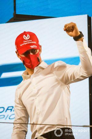 F2 Championship 1st position Mick Schumacher, Prema Racing celebrates on the podium