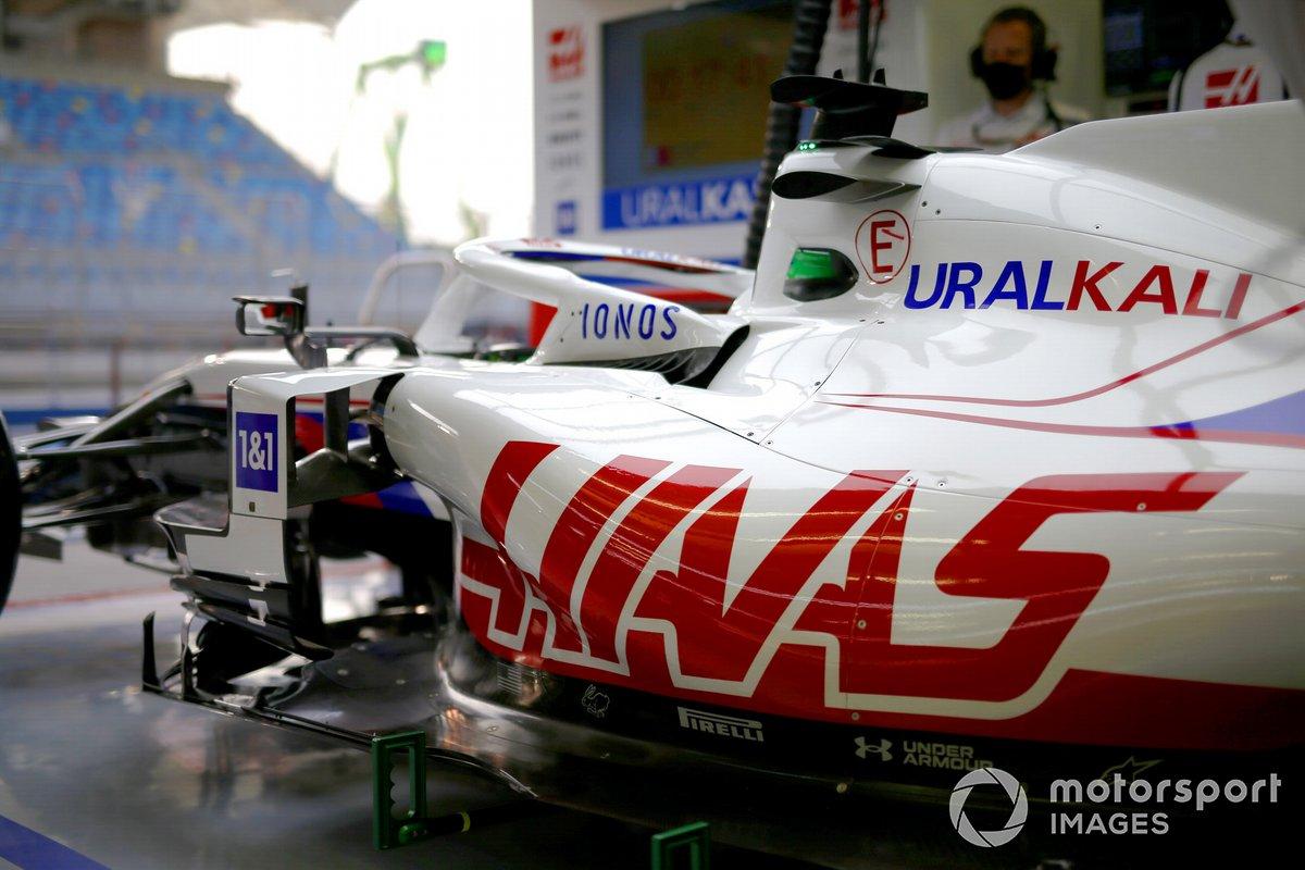 Haas F1 car in garage