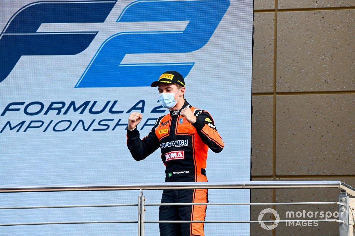 Il vincitore della gara Felipe Drugovich, MP Motorsport celebrates on the podium