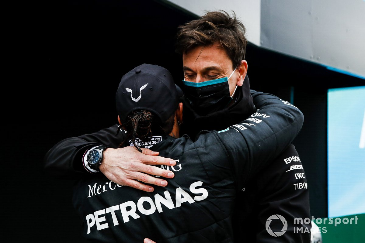 Toto Wolff, Executive Director (Business), Mercedes AMG, congratulates Lewis Hamilton, Mercedes-AMG F1, 1st position, after he secured his 7th world drivers title