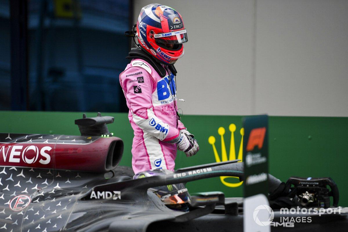 Segundo lugar Sergio Pérez, Racing Point, en Parc Ferme Parc Ferme
