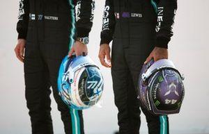 helmets of Valtteri Bottas, Mercedes W12 and Lewis Hamilton, Mercedes W12