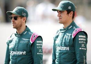 Sebastian Vettel, Aston Martin and Lance Stroll, Aston Martin on the grid
