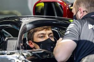 George Russell, Mercedes-AMG F1, sits in his car