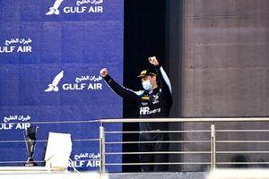 Oscar Piastri, Prema Racing, 1st position, celebrates on the podium
