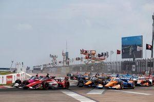Rinus VeeKay, Ed Carpenter Racing Chevrolet,, Alexander Rossi, Andretti Autosport Honda