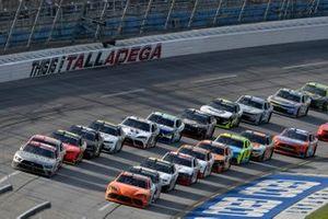 Harrison Burton, Joe Gibbs Racing, Toyota Supra Offerpad and Austin Cindric, Team Penske, Ford Mustang Snap-On