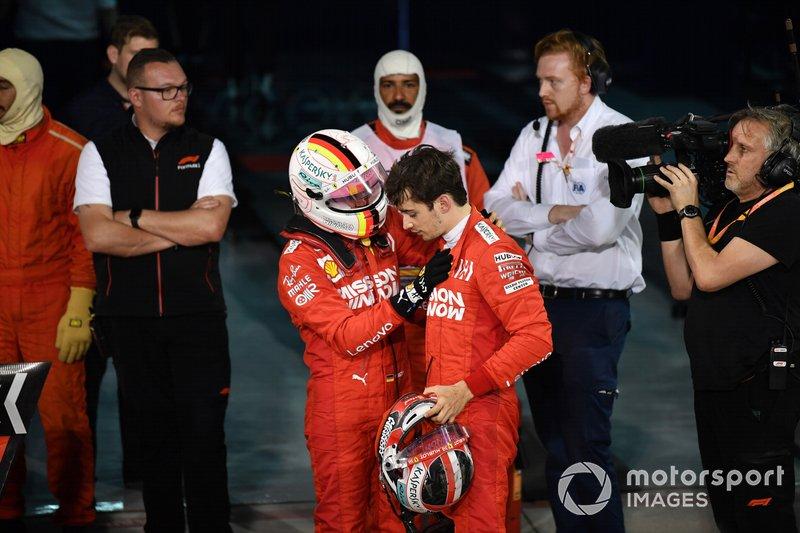 Sebastian Vettel, Ferrari, si congratula con Charles Leclerc, Ferrari, 3° classificato, per la buona performance, nel parco chiuso