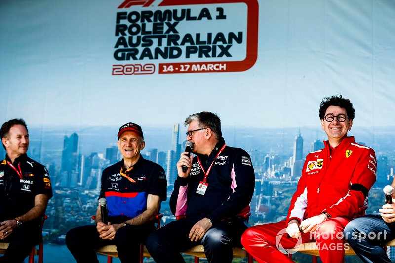 Christian Horner, Team Principal, Red Bull Racing, Franz Tost, Team Principal, Toro Rosso, Otmar Szafnauer, Team Principal Racing Point, and Mattia Binotto, Team Principal Ferrari, on stage