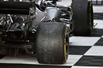 The tyres on the car of Valtteri Bottas, Mercedes AMG W10, after the race